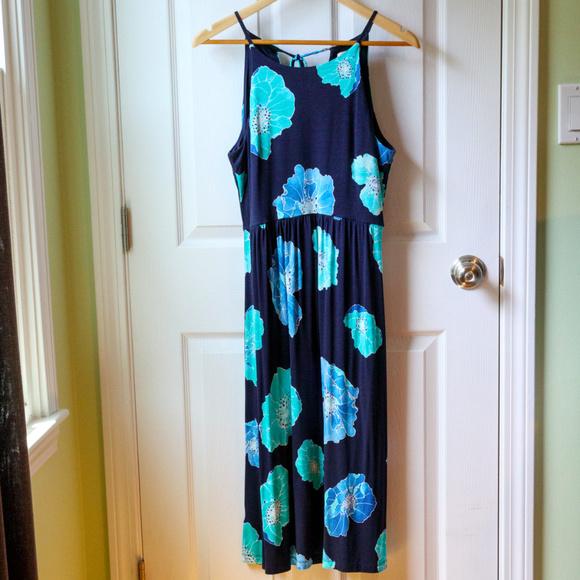 LOFT Dresses & Skirts - Loft Navy Floral Midi Dress